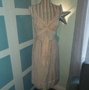 NWT BCBG Maxazria Runway $488 Beige Woven Dress Si